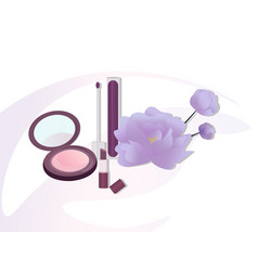 Cosmetics set package floral perfume vector