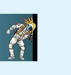 Cosmonaut knocks head on the wall dream vector
