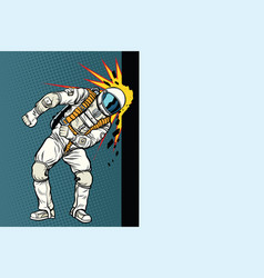 Cosmonaut knocks head on wall dream of vector