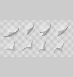 curled page corner folded and rolled paper corner vector image