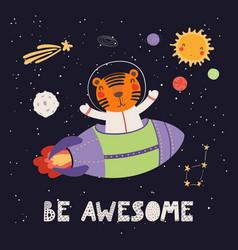 Cute tiger astronaut vector