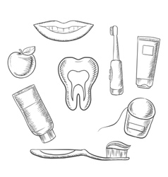 Dental hygiene medical icons in sketch style vector