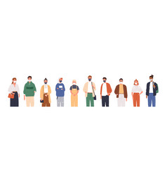 Different people wearing face masks isolated vector
