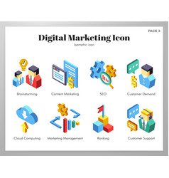 digital marketing icons isometic pack vector image