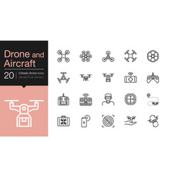 Drone aircraft and aerial icons modern line vector