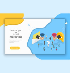 E-mail vs messenger marketing isometric vector
