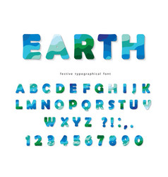 Earth landscape modern font blue and green abc vector