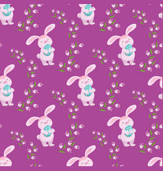 easter seamless banner with bunny eggs flowers vector image