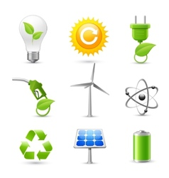 Energy and Ecology Realistic Icons Set vector image