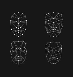 face recognition grid set vector image