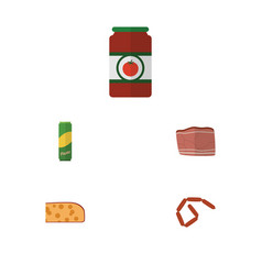 Flat icon eating set of cheddar slice beef vector