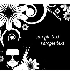 Floral background with funky face and splash vector