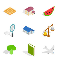 Food enterprise icons set isometric style vector