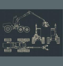 forest harvester machine blueprints vector image