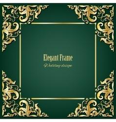 Golden square frame vector image vector image