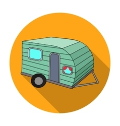 Green caravan icon in flat style isolated on white vector image