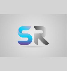Grey blue alphabet letter sr s r logo icon design vector