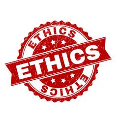 Grunge textured ethics stamp seal vector