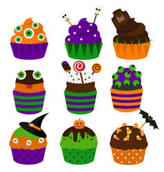 Halloween cupcakes flat icons halloween vector