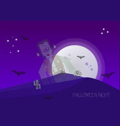 halloween night with zombies skeleton vector image