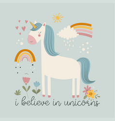 Hand drawing cute unicorn and flower print design vector