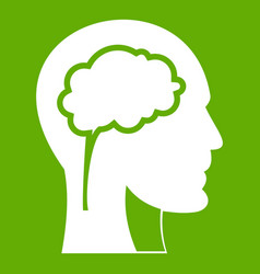head with brain icon green vector image