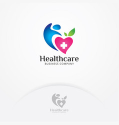 heart and body health logo vector image