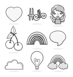 hello set of cartoons vector image