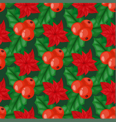 holly berry leaves christmas decoration holiday vector image