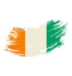 Ivorian flag grunge brush background vector