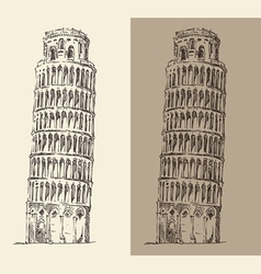 Leaning tower pisa and cathedral italy vector