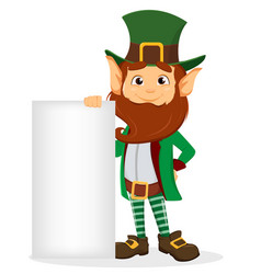 leprechaun with green hat holding blank placard vector image