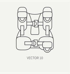 Line flat plain diver underwater equipment vector