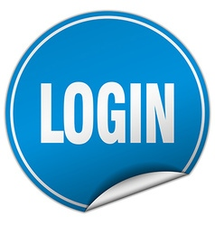 Login round blue sticker isolated on white vector