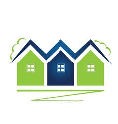 logo green neighborhood houses vector image