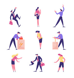 male and female business people characters pushing vector image
