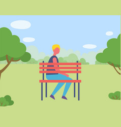 male on bench near trees forest or park vector image