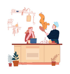 man and woman in chef aprons and toques cooking on vector image