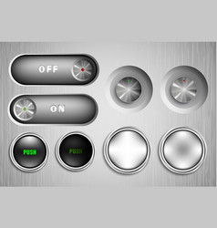 Metal buttons on and off vector