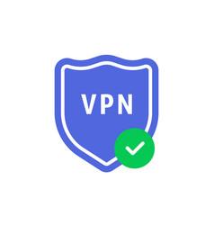 minimal vpn shield with check mark vector image