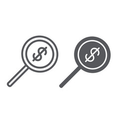 money search line and glyph icon dollar and lens vector image