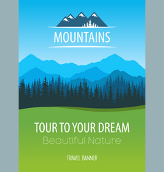 mountains nature travel poster - design of vector image