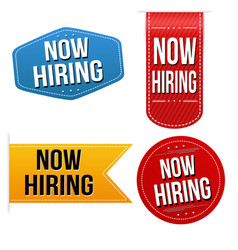 now hiring sticker or label set vector image