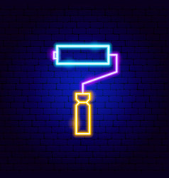 paint roller neon sign vector image