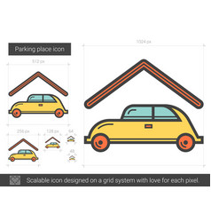 Parking place line icon vector