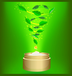 Phyto cream on green background vector