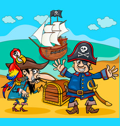Pirates on treasure island cartoon vector