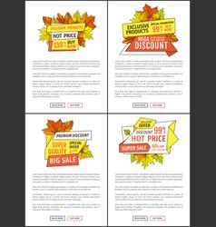 Premium exclusive offer web posters set oak leaves vector