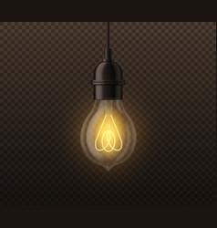 Realistic light bulb vintage edison glowing lamp vector