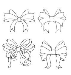 Ribbon bow set outline drawings of ribbon tied in vector
